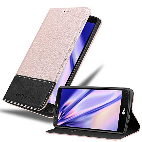 Cadorabo Custodia Libro per LG G4 / G4 Plus in Oro Rosato Nero - con Vani di Carte, Funzione Stand e Chiusura Magnetica - Portafoglio Cover Case Wallet Book Etui Protezione