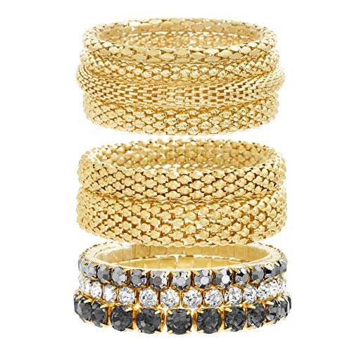 Steve Madden Yellow Gold Tone and Black Rhinestone Stretch Bangle Bracelet Set For Women, One Size (SMB488501GD)