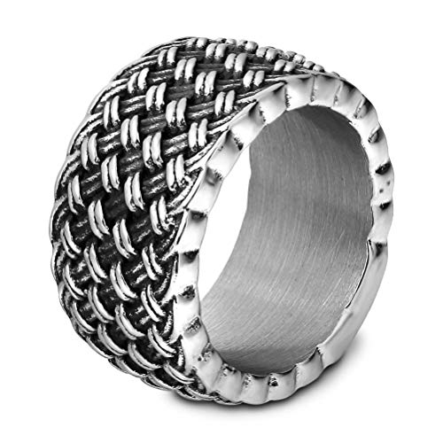 8 To 12 Size Mens Fishnet Shape Big Ring, Hip Hop Style Gift Punk Vintage 3MM Thickness Stainless Steel Jewelry, Party Prom Personality Rings,Silver,9