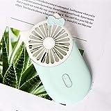 CBVG Cartoon USB-Tasche Mini Portable Hold Charge Kleine Lüfter mit Einer Bring Led Lampe Ultradünne Windkraft, Babyblau