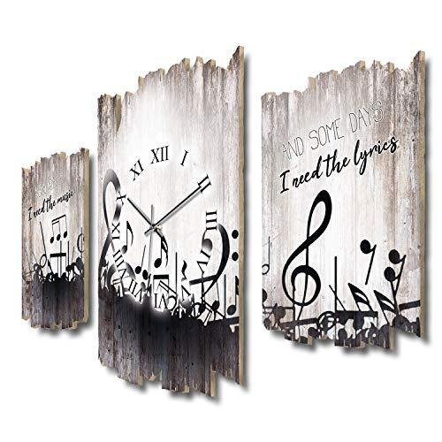 Some Days zwarte noten muziek melodie shabby chic landhuis driedelige designer radio wandklok stil radio klok zonder tikken 95 x 60 cm van MDF-hout DTWH113 leises Funkuhrwerk