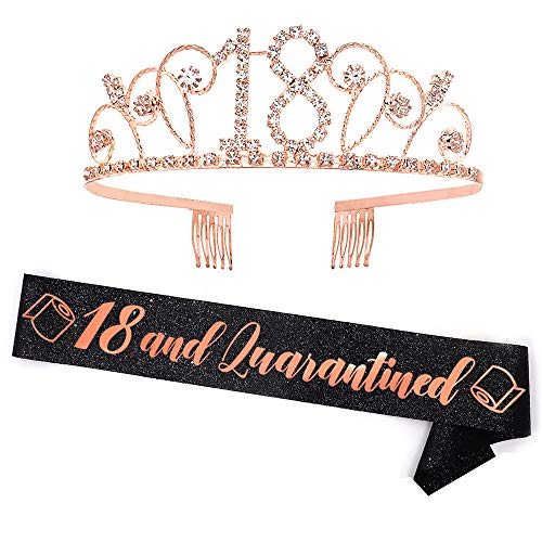 Quarantine Birthday Gifts - Black Glitter'18 & Quarantined' Sash + Rhinestone Crown Set - 18th Birthday Decorations, Gifts & Supplies
