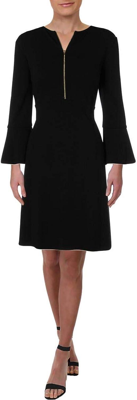 Rachel Zoe Womens ZipNeck Bell Sleeve Shirtdress Black 12