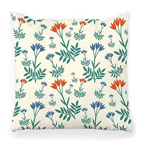 MayBlosom Housse de Coussin décoratif carré 18 x 18 cm, diseño de flores botánicas, color beige 22