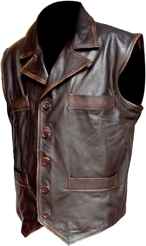 Brown Cow Hide Leather Distressed Vest For Mens