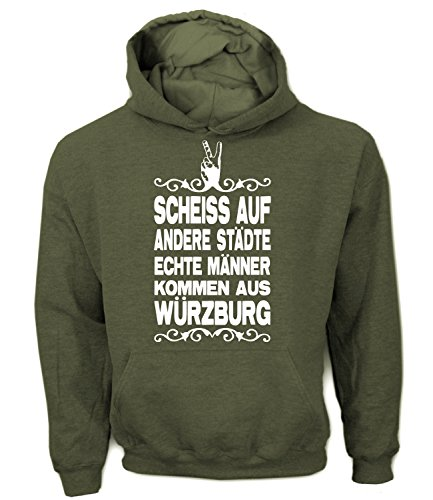 Artdiktat Herren Hoodie - Scheiß auf andere Städte - Echte Männer kommen aus Würzburg Größe XL, Khaki