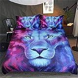 Prinbag Lion Animal Bedding Set with Duvet Cover 3D Universe Planet Scenery Home Textiles 150x200cm