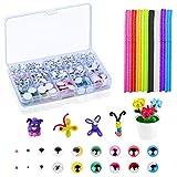 BELIOF 1600 Piezas Adhesivo de ojos Móviles y 80 Piezas de Manualidades Multicolores para Muñecas de...