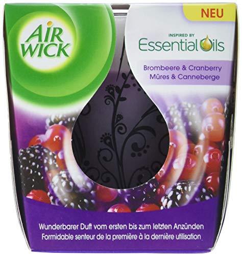 Air Wick feel-good geurkaars – geur: braambes & cranberry – bevat natuurlijke etherische oliën – 6 x geurkaars in lila