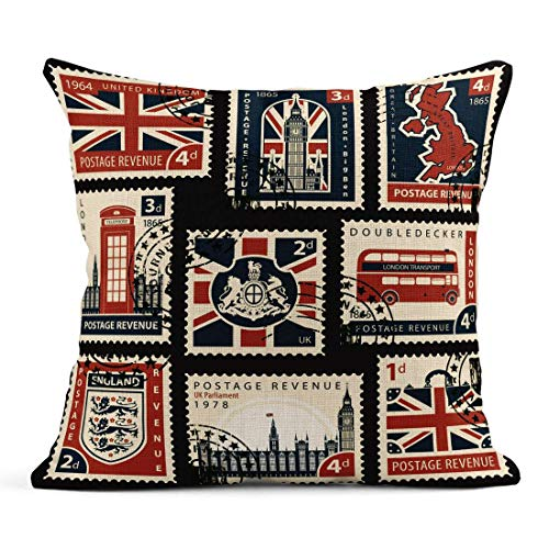 Tarolo Throw Pillow Covers Postage Stamps British UK Map Parliament London Big Ben Coats Arms England and Great Britain Symbols Linen Cushion Cases Home Decorative Pillowcases 18 x 18 inches