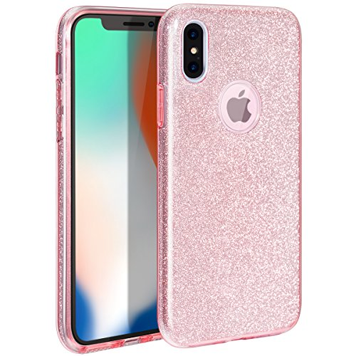 MILPROX Cover iPhone Xs,iPhone X glitter shiny bling Slim Crystal Clear TPU Bling Glitter Paper Frosted PC Shell protettiva Custodia per iPhone X/Xs - Rosa