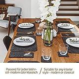 Miqio® – Design 12 teiliges Premium Platzset – Filz und Leder- für 4 Personen, waschbar, je 4 Tischsets, Glas-Untersetzer, Bestecktaschen (dunkelgrau anthrazit) - 7