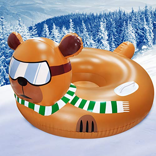 """TURNMEON 51"""" Giant Snow Tube, Winter Inflatable Snow Sled for Kids Adults with Frontrest 6mm Thick Heavy Duty Inflatable Snow Tube Sledding Float River Ride Tube"""