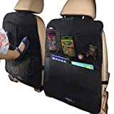 MyTravelAide Car Backseat Organizer Kick Mats (2 Pack) with Large Storage Pockets for Tablets - Perfect Travel Accessories for Kids
