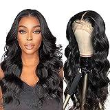 Peluca de cabello humano brasileño Pelucas de cabello humano ondulado con frente de encaje para mujeres negras Pelucas sin procesar (24 inch, T part body wave wig)