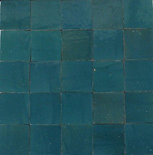 1m² blaugrüne Zellige Kacheln 10x10x1,2cm - Handarbeit Mosaikfliesen Wandfliesen