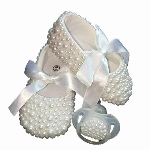 Dollbling Christening Handmade White Pearls Baby Shoes and Pacifier Set, Baby Birthday Gifts Keepsake