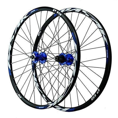 Ruedas de Bicicleta,Llanta MTB de Doble Pared 32 Hoyos Liberación Rápida Freno de Disco 8/9/10/11/12 Velocidades Primeros 2 5 Rodamientos Traseros (Color : Blue hub, Size : 27.5in)