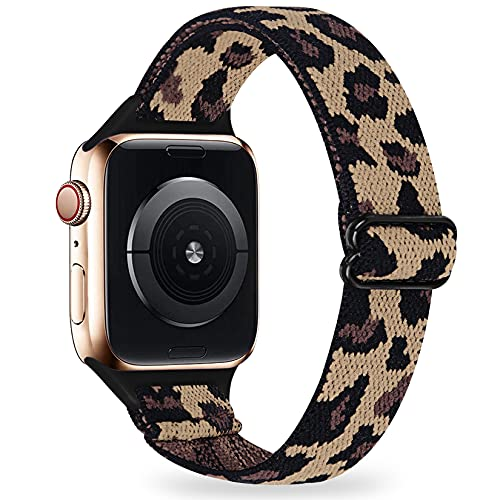 LANVO Adjustable Slim Elastic Bands Compatible with Apple Watch Band 44mm 42mm 40mm 38mm, Women Stretch Thin Nylon Band Strap (Leopard, 40mm 38mm)