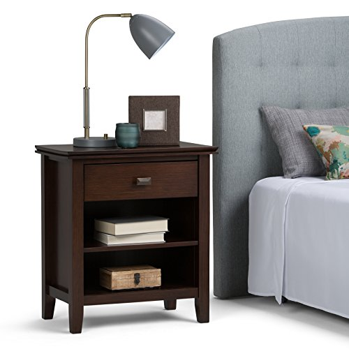 Simpli Home Artisan Solid Wood 24 inch Wide Contemporary Bedside Nightstand Table in Russet Brown