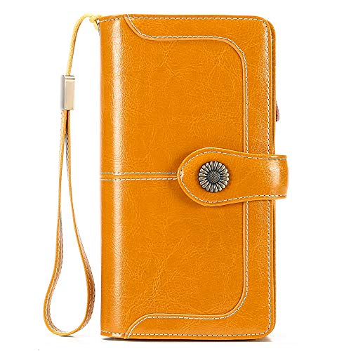 SENDEFN Ladies Purse,Genuine Leather with RFID Protection Large Capacity Women's Wallet