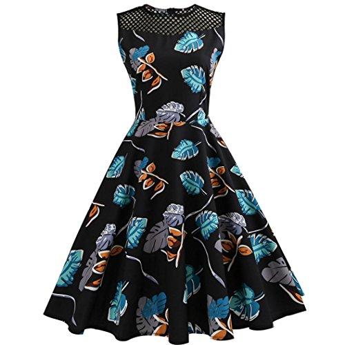 Internet Sexy Femme Robe Vintage Floral Bodycon sans Manches Casual Robe de Soirée Prom Swing Robe 1950 's Style Audrey Hepburn Rockabilly Robes Plissées Col Rond (L, Bleu)