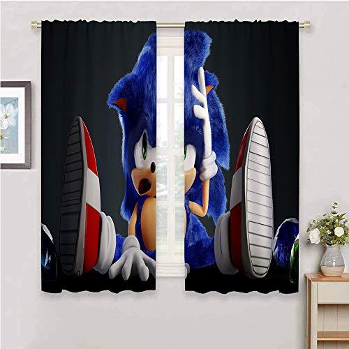 Cortinas con bloqueo de luz para sala de estar, cortinas de sonido para dormitorio de niños, cortinas opacas para recámara Sonic Tails (personaje) Nudillos, Sonic Force, poliéster, Color_06, W84' x L84'(214cm x 214cm)