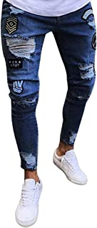 Tomwell Pantalone Attillato Strappato da Uomo Slim Fit Biker con Cerniera Jeans Skinny Pantaloni Strappato