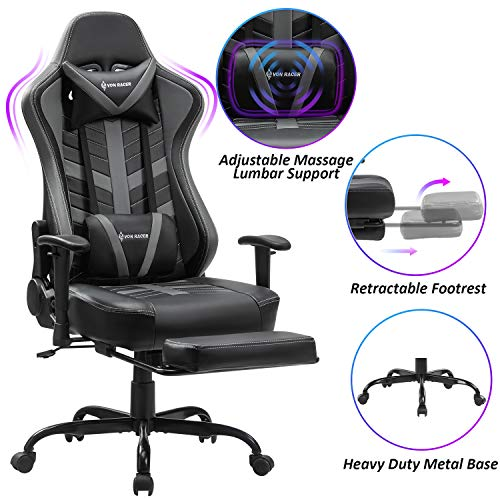 VON RACER Massage Gaming Chair with Footrest - Racing Computer Desk Office Swivel Task Chair Ergonomic Executive Bonded Leather Chair with Headrest Lumbar Support Adjustable Armrests