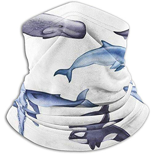Bklzzjc Blue Whale Sperm Dolphin Killer Animaux Faune Unisexe Polaire Neck Warmer Visage Warmer Neck Tube Neck Scarf Neck Guêtres