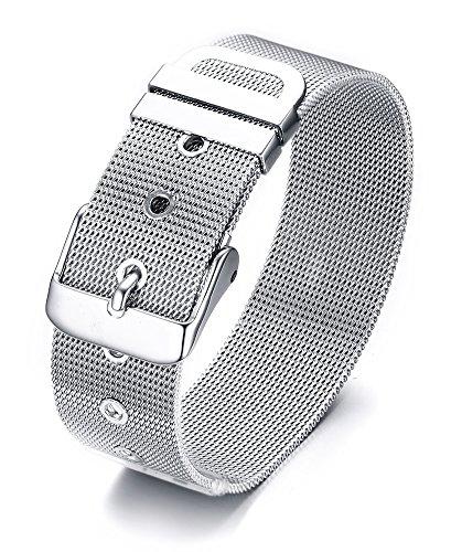 Vnox 'S Les Femmes de 19mm Hommes en Acier Inoxydable Treillis métallique chaîne Wristband Boucle de Ceinture réglable Bracelet Manchette,21.5cm