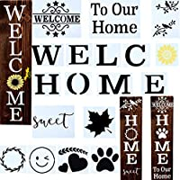 WelcomeSign、HomesignStencilsforPaintingonウッド再利用可能ポーチサインとフロントドア垂直ウェルカムステンシルとサンフラワー、犬の肉球とステンシルとortherpattern。