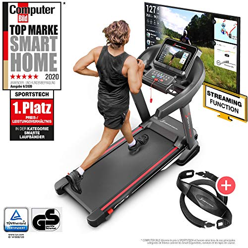 Sportstech F37 Professional German Quality Treadmill, Live Videos and Multi-Player APP, 7CH up to 20 km/h + Lubrication System, Foldable, Pulse Belt, 150 kg Max, F37_N