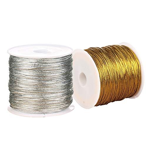 Healifty 2 Rollen Metallschnur Lametta Schnur Handwerk machen Schnur Lametta Geschenkanhänger Seilspule (Gold + Silber)