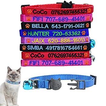 Collier de chat Breakaway personnalisé Collier d'identification de chat personnalisé Collier de sécurité pour téléphone avec nom d'animal de compagnie brodé avec cloche (5 Color, Paw Logo)