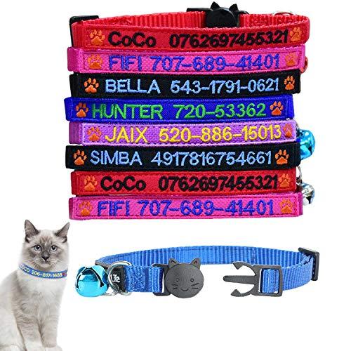 Graceful life Collar de gato personalizado para identificación de gato con nombre de mascota bordado collar de seguridad para teléfono con campana (logotipo de pata)