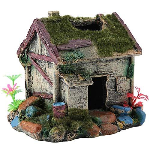 YCX Résine de Maison Aquarium, pour des Aquariums, nid d'aménagement paysager de crevettes Poisson Flocage cavité avec de la Mousse,Vert