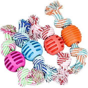 DESON 4 Pièces de Jouets à Mâcher pour Chiots, Jouets Corde avec Balle Jouets de Dentition pour Chiens pour Petits Moynne et Grande Chiens