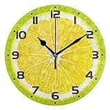 Naanle Citrus Fruit Orange Lemon Lime Slice On Green Round/Square/Diamond Acrylic Wall Clock Oil Painting Home Office School Decorative Creative Dual Use Clock Art