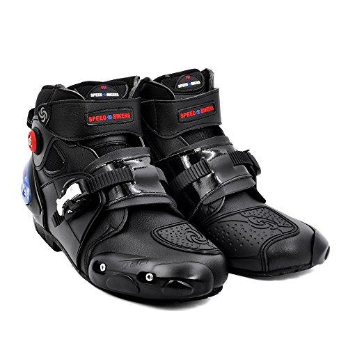 BJ Global botas de motocicleta profesional botas de carreras de moto impermeable motorista proteger tobillo moto zapatos Tamaño 40-45 negro, color Negro, talla 42 EU