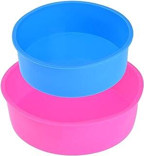 پخت و پز قالب کیک سیلیکون Uarter Bakeware Pan Round 8 اینچ و 6 اینچ ، بدون BPA ، آبی و گل رز ، مجموعه 2