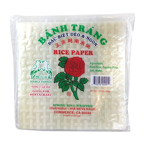 12 Ounce Red Rose Banh Trang Spring Rolls Paper Wrapper Roll Rice Paper Square Shape 22 Centimeters