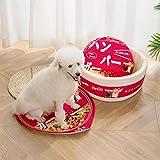 Cama para Mascotas, con una Alfombra Suave para Mascotas, Cama para Gatos Perros, Cama Suave de Felpa de tamaño Mediano -Hamburguesa_50 cm de diámetro y 20 cm de Altura