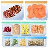 IYOYI Sac de Congelation, Lot de 10 Sac de Conservation Nourriture Réutilisables, 3 Tailles, Écologique ans BPA, Sacs Réutilisables pour Sandwiches/Snacks/Fruits/Légumes/Aliments Surgelés/Boisson