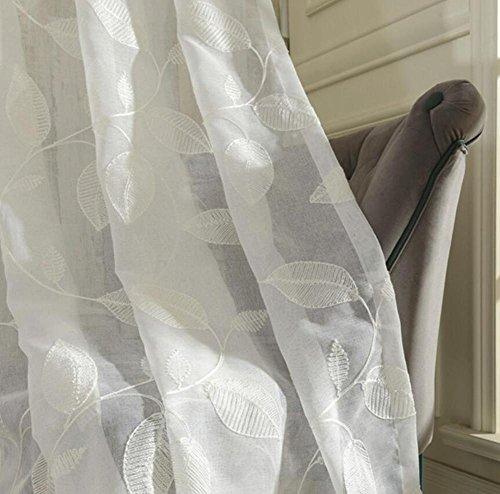 Rideaux en tulle brodés Linge blanc Moderne Salon de style Traitements de fenêtre Porte de cuisine Design floral Panneau à rideaux courts , hooks top , 1pcx(300x250cm)