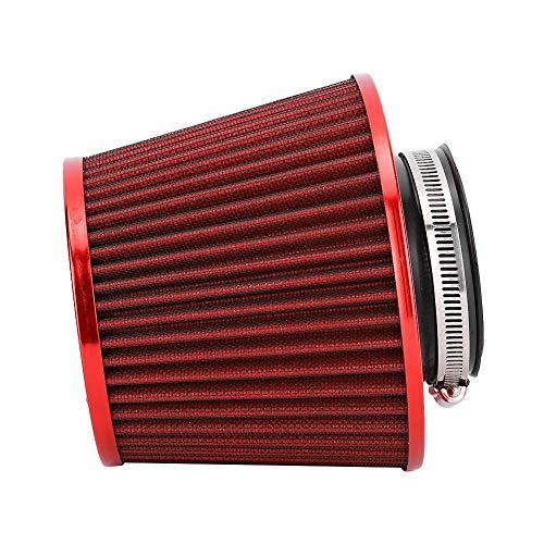 Filtro de aire universal, accesorio de repuesto para coche, filtro de aire de alto flujo de 63 mm, filtro de aire de admisión para uso profesional (rojo)