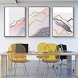 シンプルな抽象的なカラーラインカーブヒルズキャンバスアートプリントポスター画像壁寝室リビングルーム現代の家の装飾-40X60Cmx3ピースフレームレス