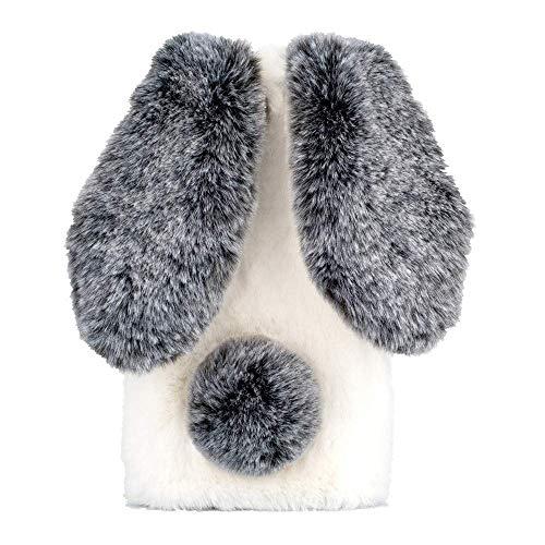 Awenroy Hase Pelz Handyhülle für Wiko View 2 Go [ 3D Flauschiges Kaninchen ] Weicher & bequemer Plüschbezug Spaß Luxus & schön Stoßfeste Hülle für Wiko View 2 Go - Schwarz & Weiß