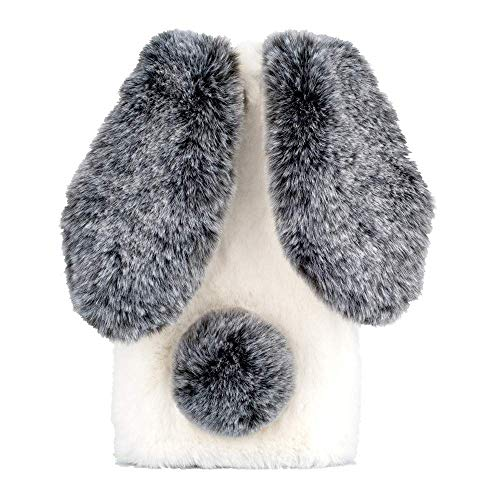King phone Felpa Funda para LG G5 Linda Funda de Conejo Peluche Orejas Carcasa Ultra Fina Suave TPU Furry Caso 3D Diamante Brillante Funda Protectora, Blanco Negro