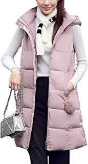 Sobrisah Women's Casual Hooded Coat Zipper Up Thickened Warm Sleeveless Slim Fit Long Down Vest Jacket with Pockets